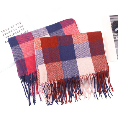 Cashmere Red Plaid double color Plaid tassel scarf women bib enlarged shawl