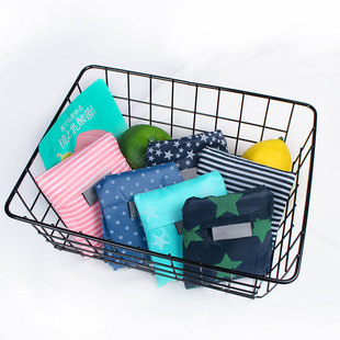 Spot striped star printing polyester shopping bag, supermarket eco-friendly grocery shopping storage bag, folding gift tote bag