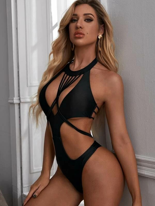 Swimwear sexy strappy black bikini one-piece swimsuit NSHL438