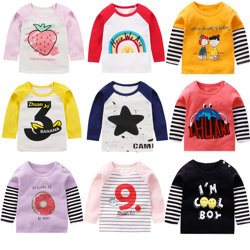 Children's Tops Cotton Bottoming Shirts Boys And Girls Long-sleeved Children's Single-piece T-shirts