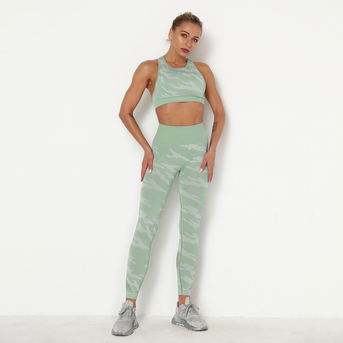 seamless knit camouflage yoga suit two-piece set NSLX9018