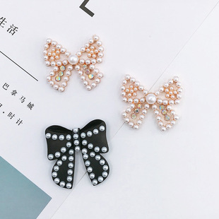 Yilian new handmade pearl bow tie diy mobile phone shell jewelry accessories spray paint bow tie brooch headwear material