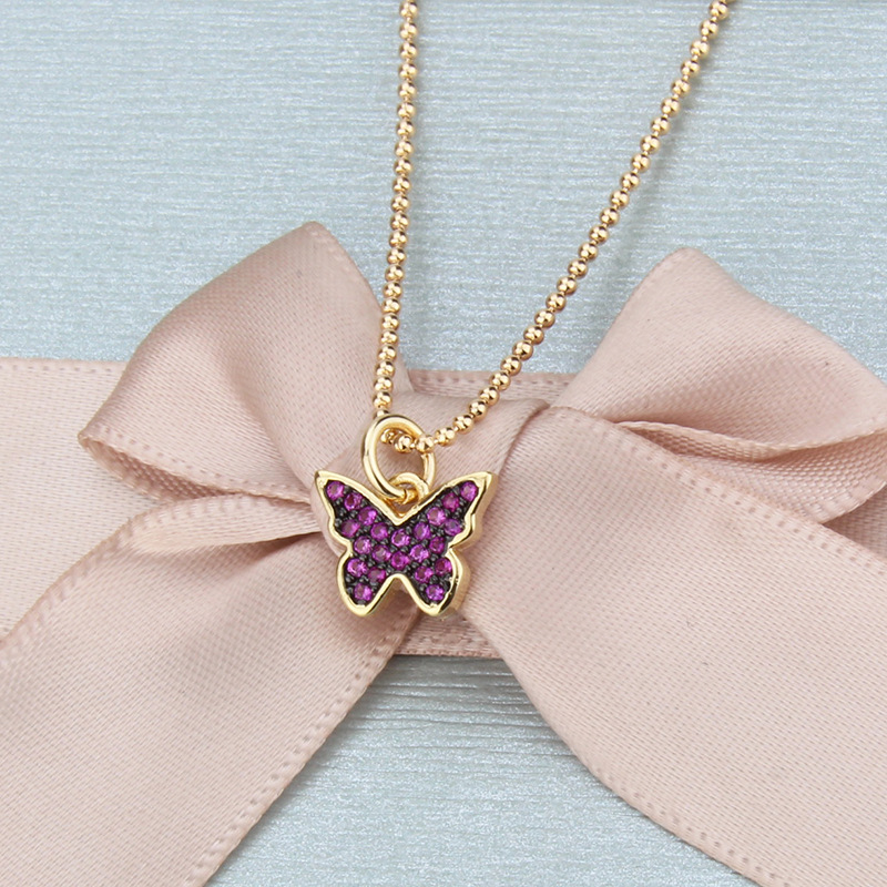 New color zircon butterfly necklace wholesale NHBP210896