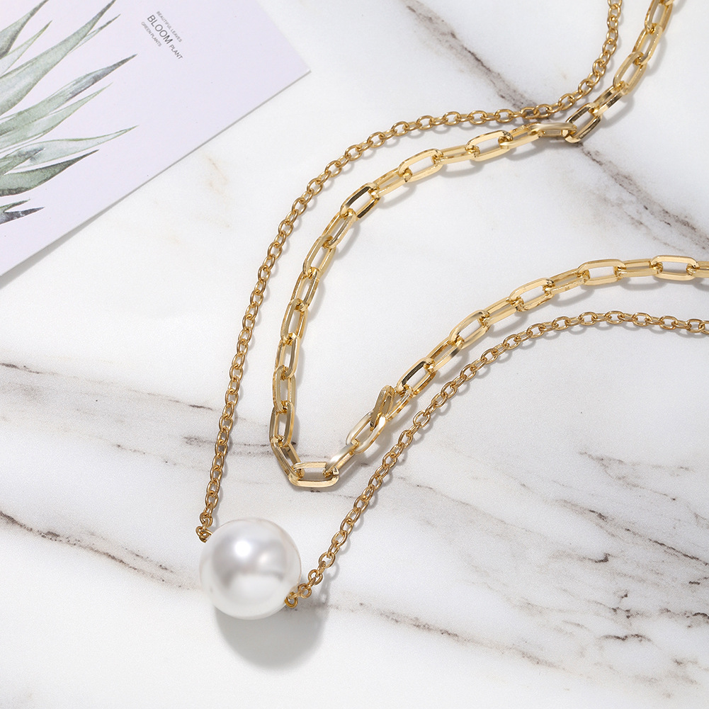 new double C  pearl  necklace  wholesale NHJQ261713