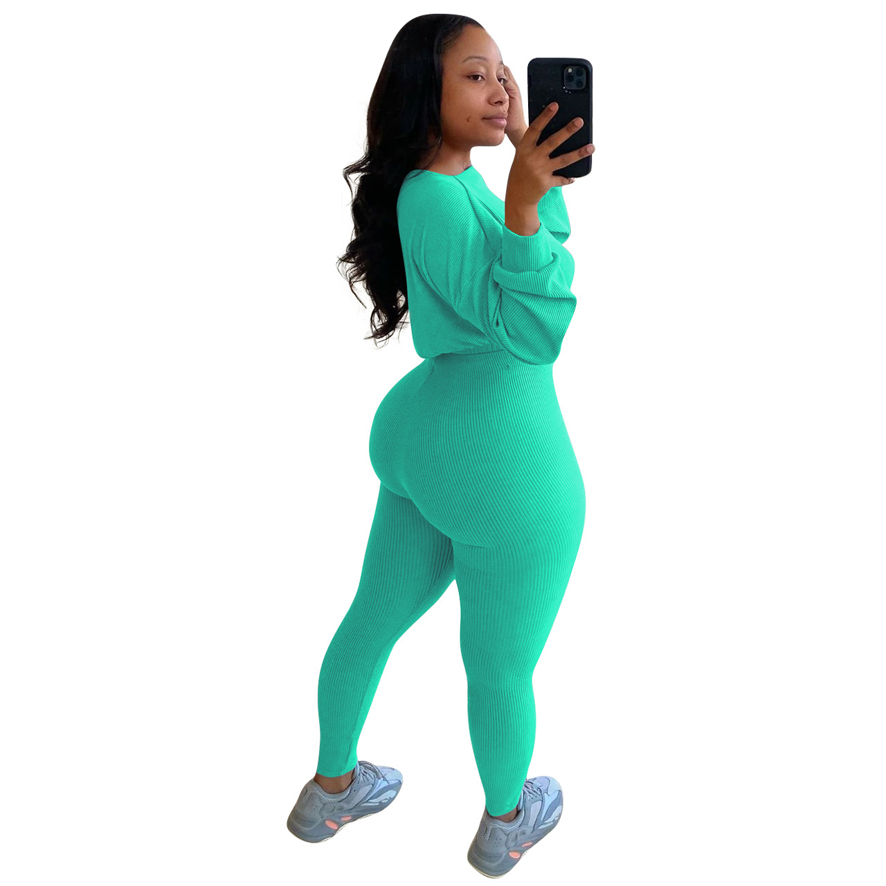 autumn ribbed sports and leisure set NSNK64934