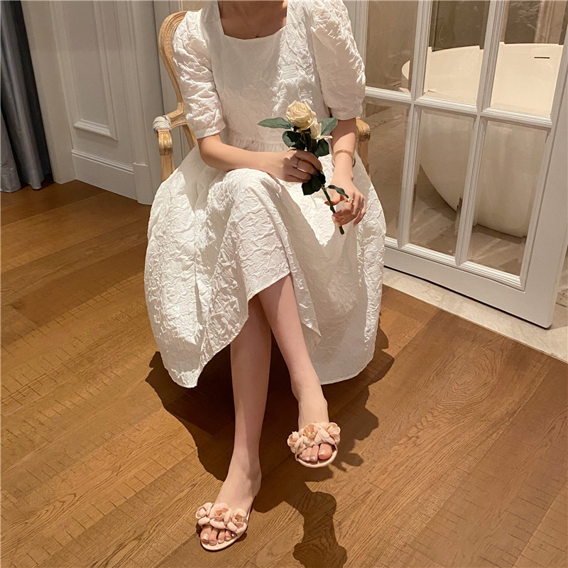 Korean summer new fashion camellia word drag jelly shoes flat bottom non-slip beach sandals wholesale nihaojewelry NHHU228521
