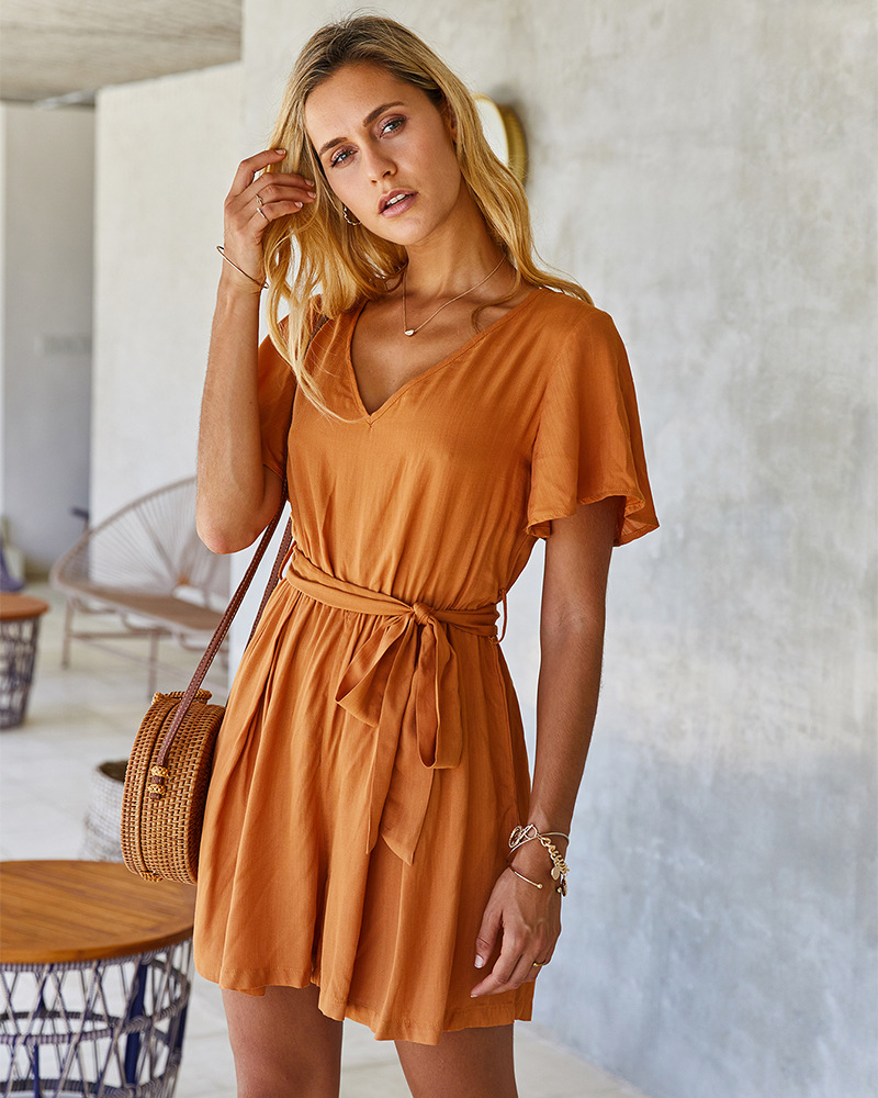 spring and summer elastic waist solid color jumpsuit NSKA1053
