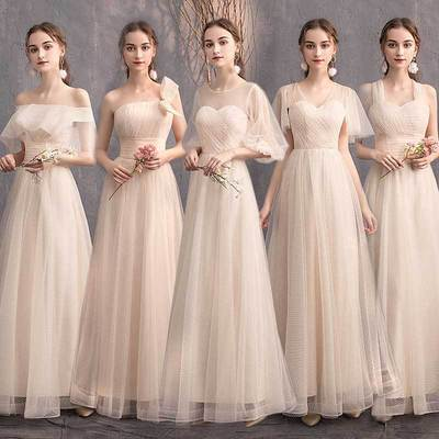 Bridesmaid bevening dresses champagne party evening dress graduation dress