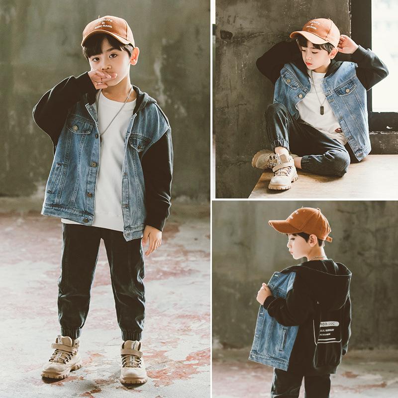 2021春装新款韩版男童时尚中大童字母长袖拼接牛仔连帽外套潮批发