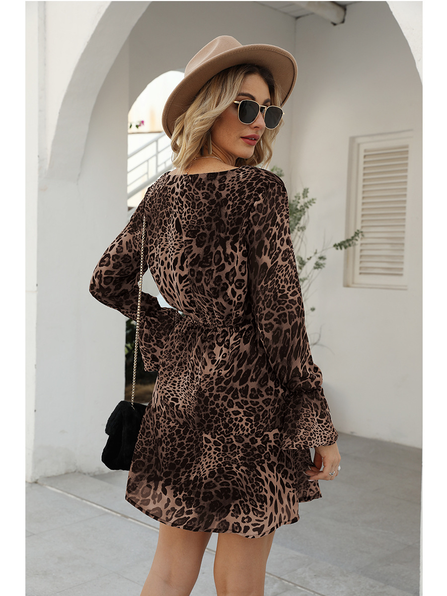 fashion Vneck long sleeve leopard print dress NHAL299729
