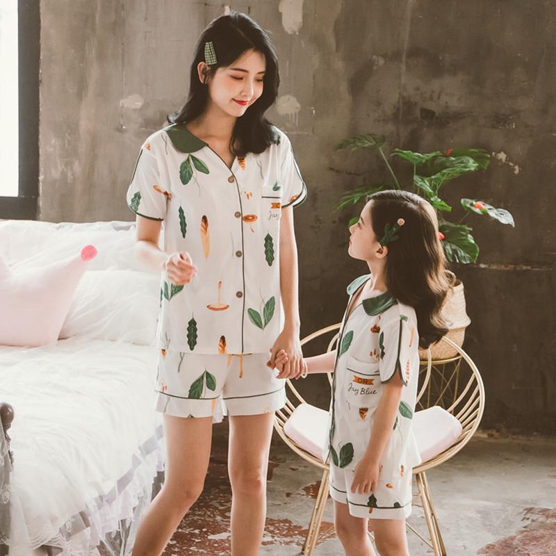 亲子装睡衣母女夏季女童夏短袖套装纯棉家居服儿童薄款全棉夏天