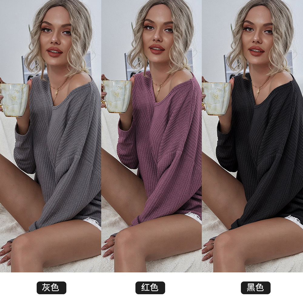 Autumn new knitted V-neck mesh fashion casual women's sweater  NHDF49