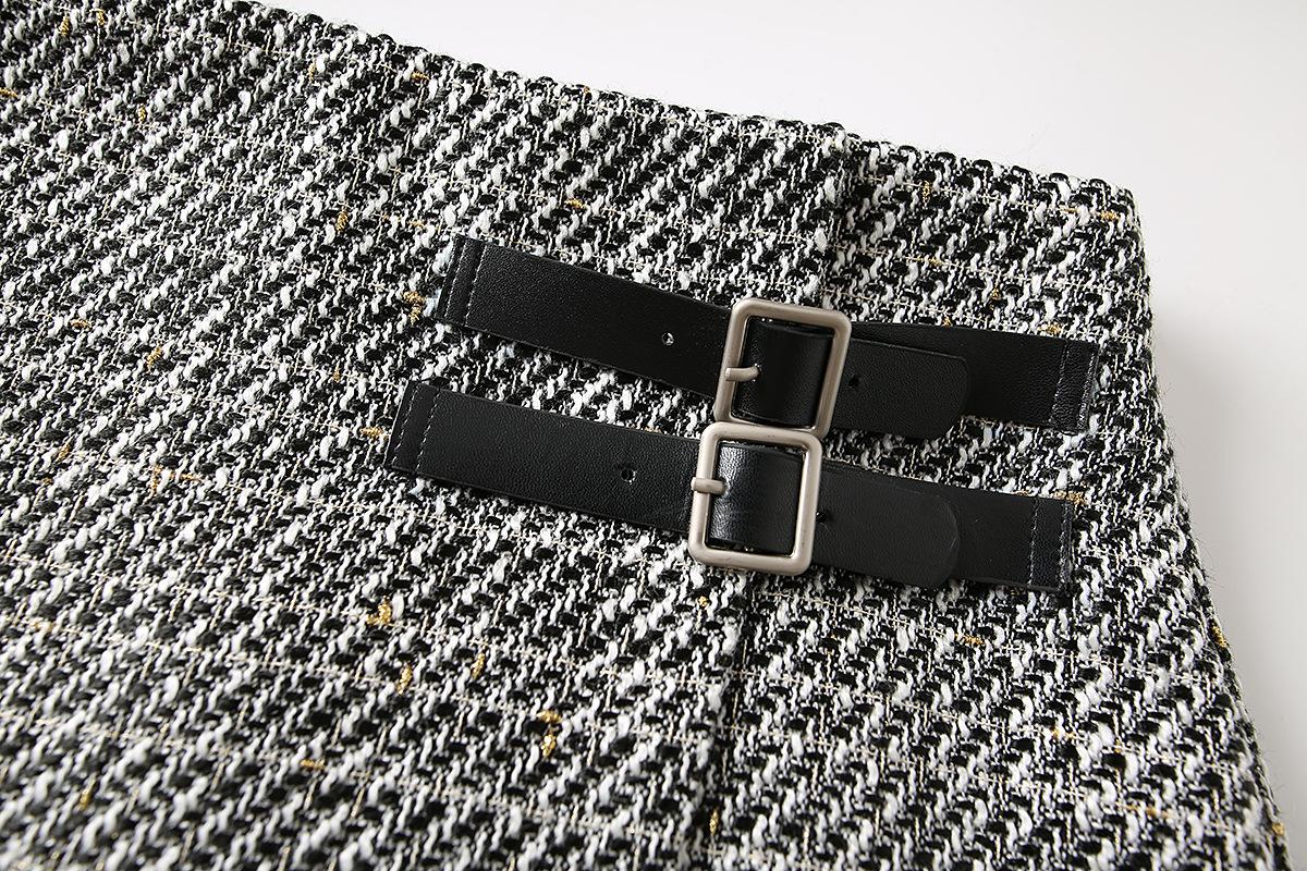 Autumn Asymmetrical Tweed A-line Skirt NSAM3099