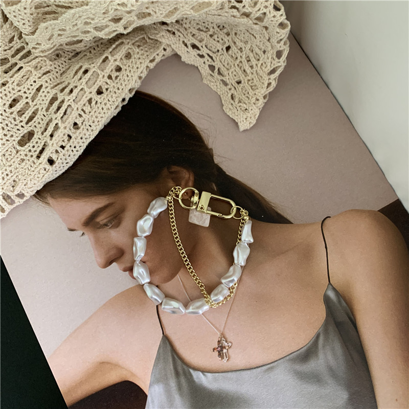doublelayer pearl chain stitching necklace retro sweater chain NHYQ278815