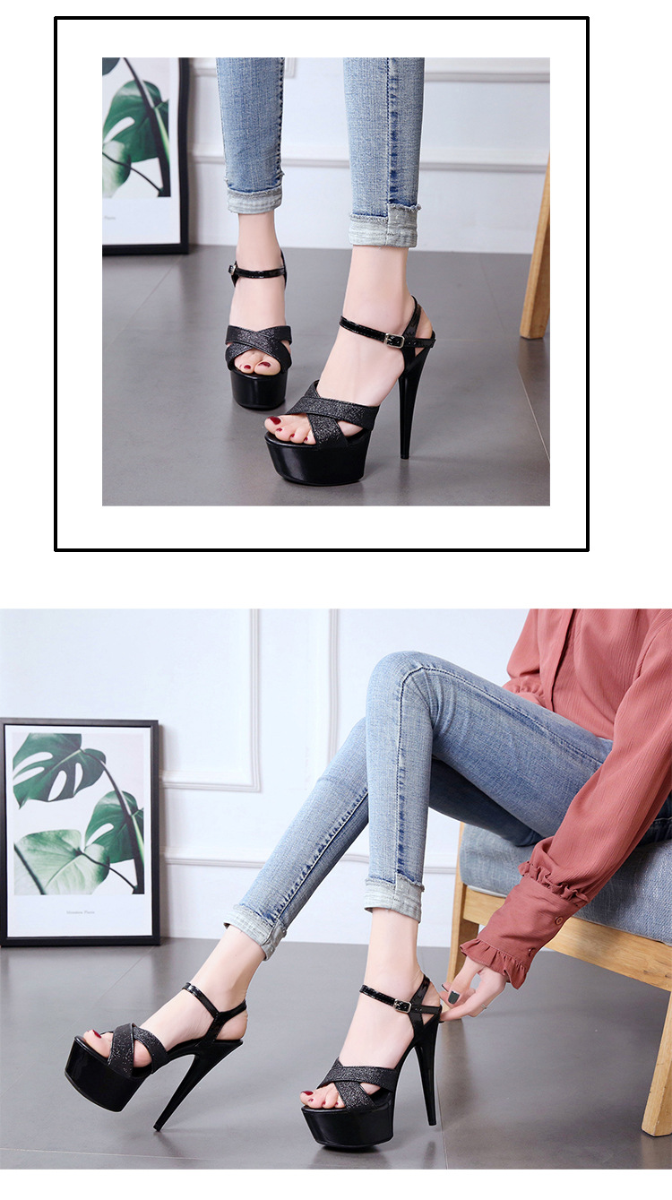 Summer new word with super high heel sandals sexy nightclub women's shoes NHSO200253