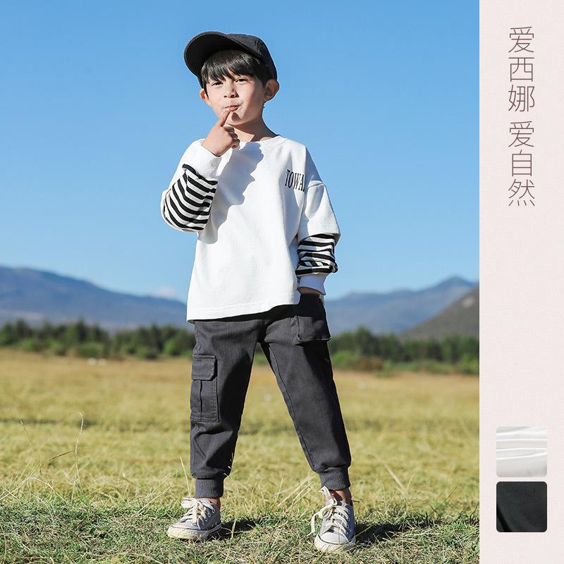 男童长袖T恤假两件2020秋装新款儿童休闲横条打底衫圆领套头上衣
