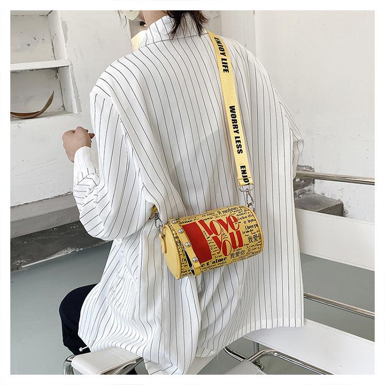 popular bag Korean wide shoulder strap messenger small cylinder bag wholesale NHJZ249417