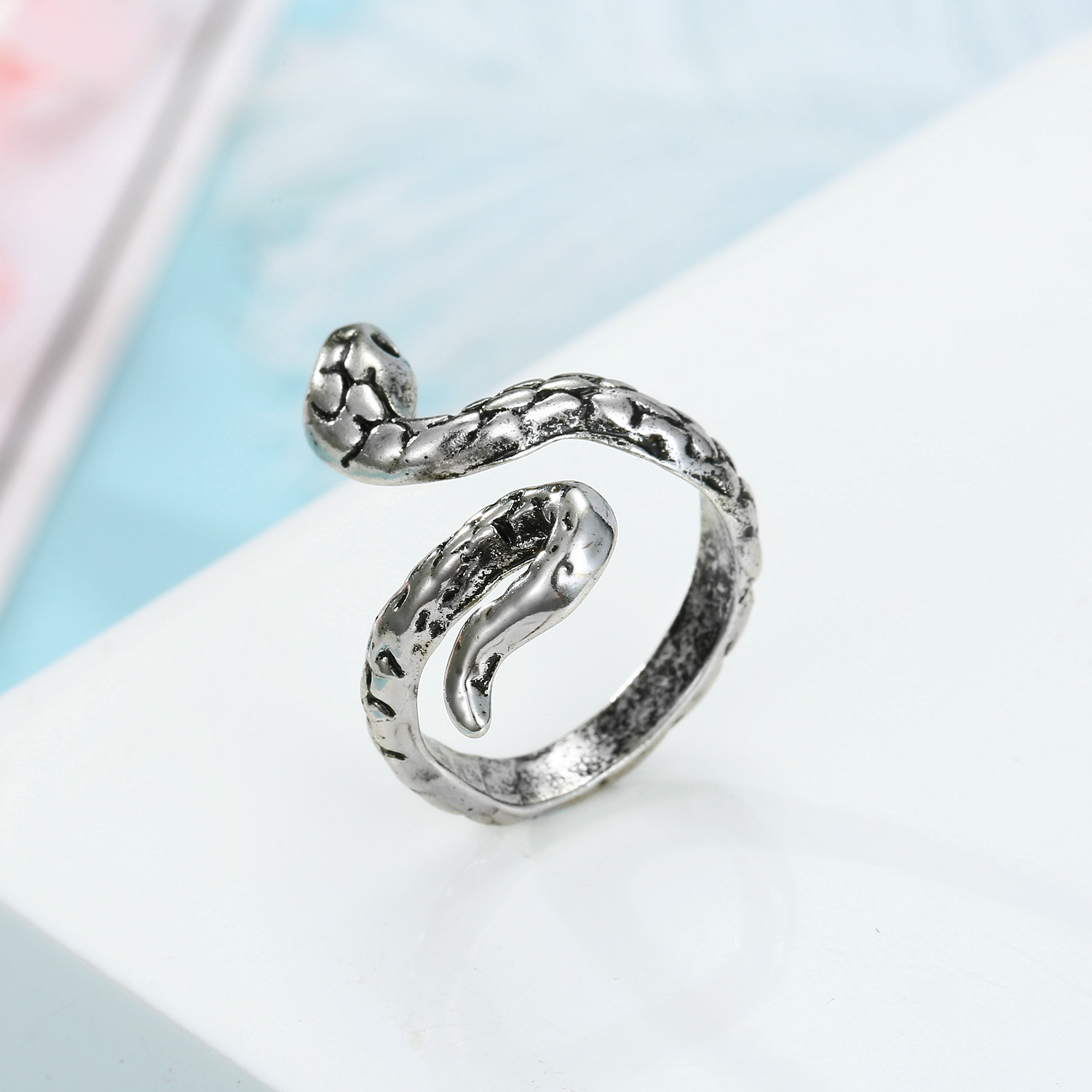 Jewelry ancient silver snake ring vintage cobra ring golden ring NHGO204380