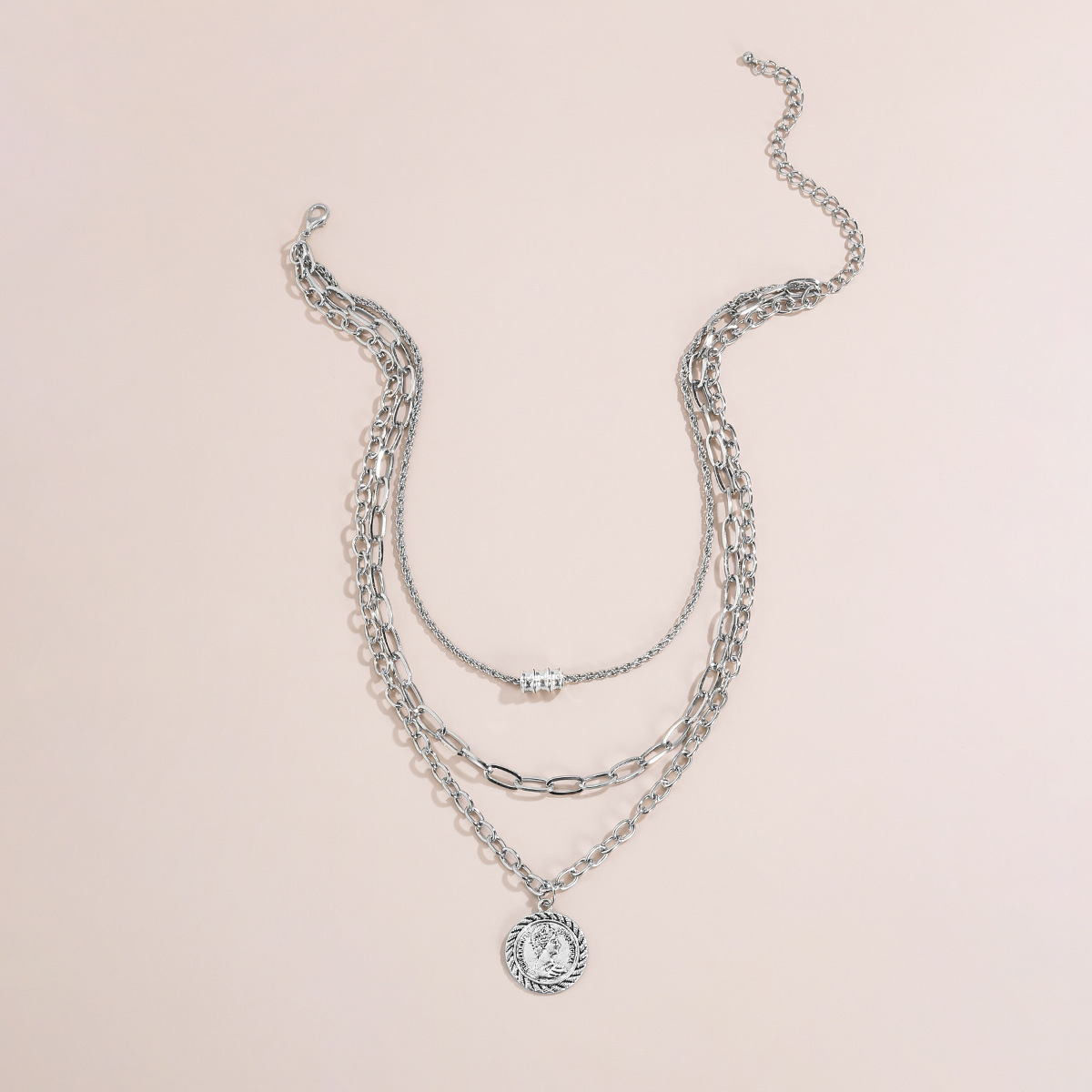 fashion jewelry retro simple multi-layer metal clavicle necklace portrait alloy necklace  NHXR263185