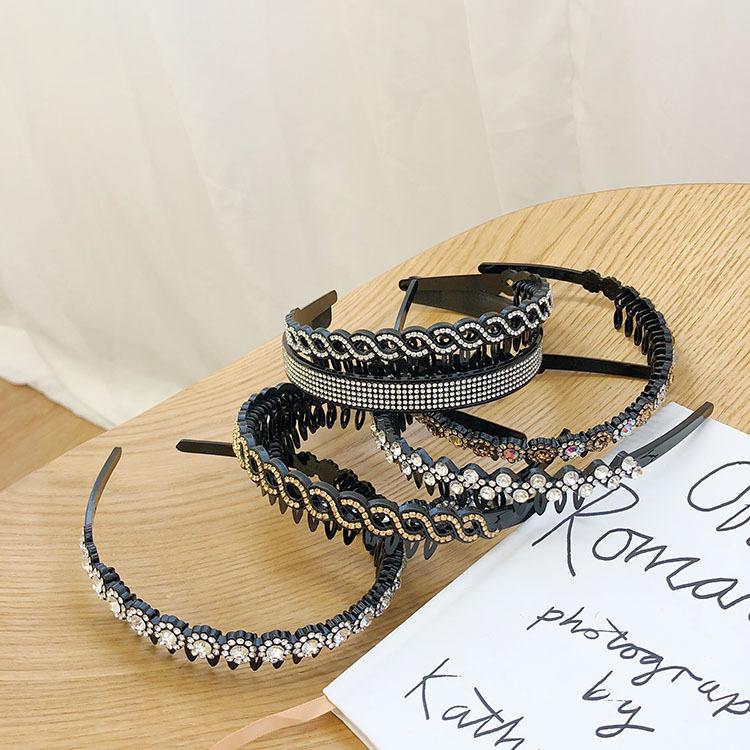 pearl headband retro rhinestone wave headband   NHSM262221