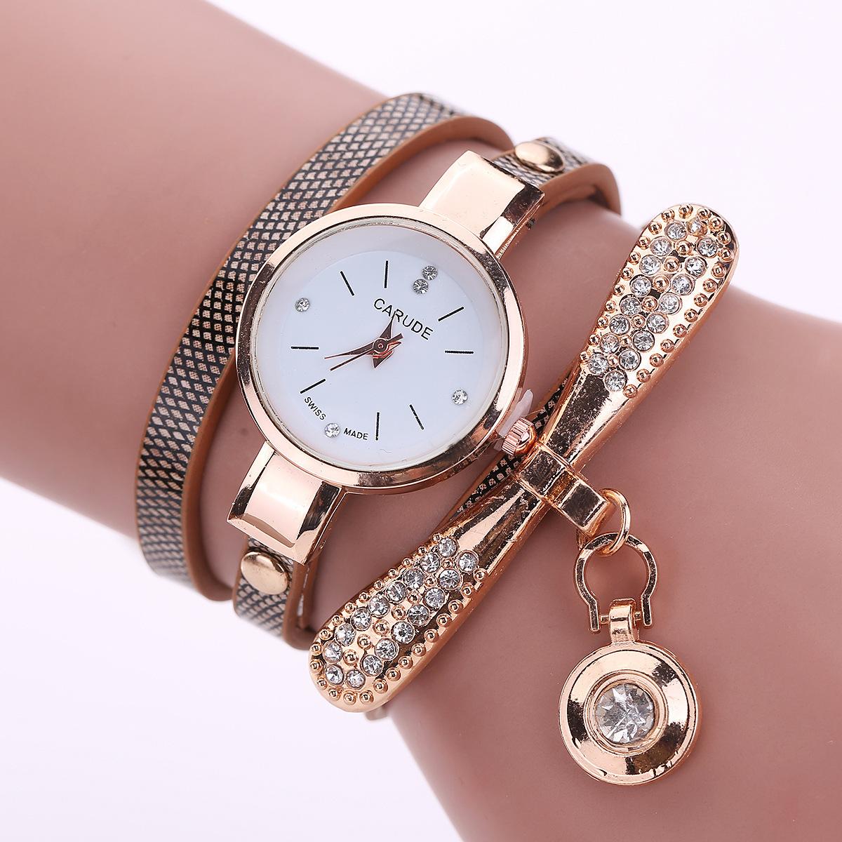 Bowknot plaid pu belt winding trend water diamond British fashion bracelet watch NHSS266812