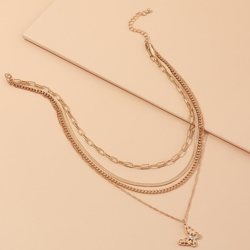 bijoux de mode punk mtal serpent chane mode multicouche papillon collier en gros nihaojewelry NHNZ227777