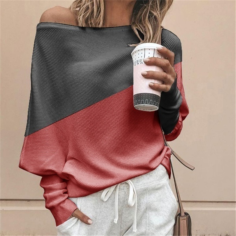loose large size women's stitching contrast long-sleeved T-shirt top NSYF2153