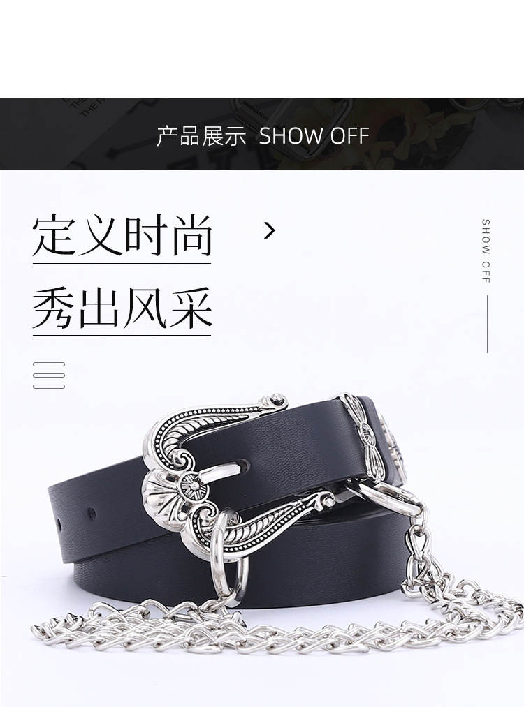 new metal carved three-piece butterfly buckle belt ladies wild clothing decoration chain belt wholesale nihaojewelry NHPO226185