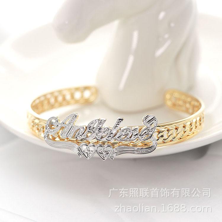 S925银新款白色车花字母女式金银混色时尚铜古巴链风格手镯