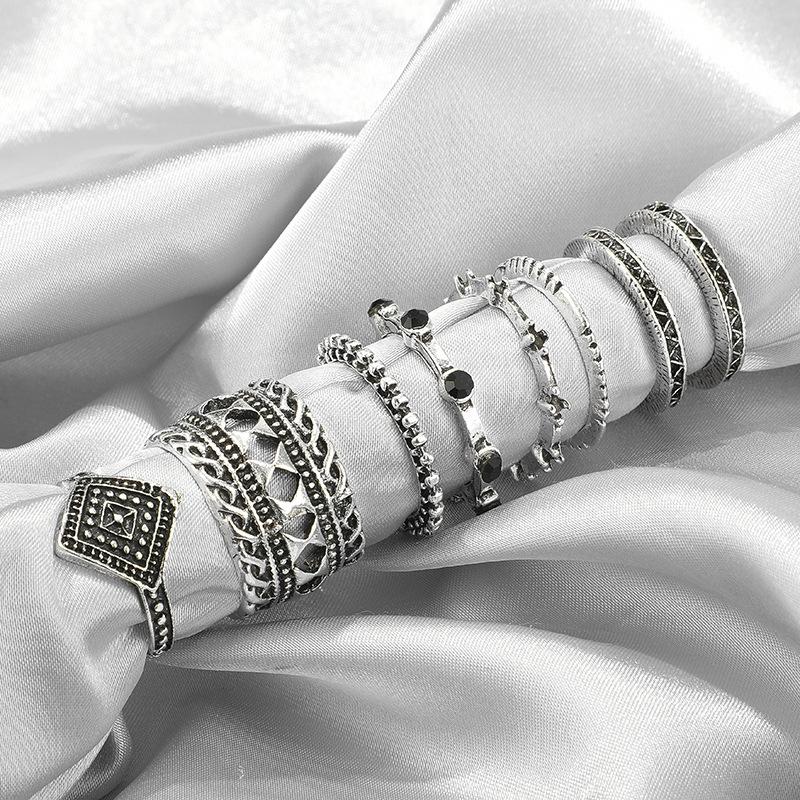 Nueva moda retro anillo de diamante negro anillo de diamante hueco de 8 piezas NHGY210697