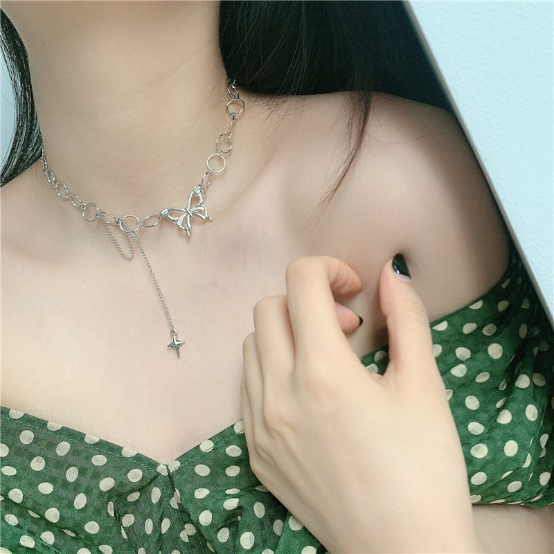 Fashion butterfly niche simple short alloy circle clavicle chain choker  NHYQ242992