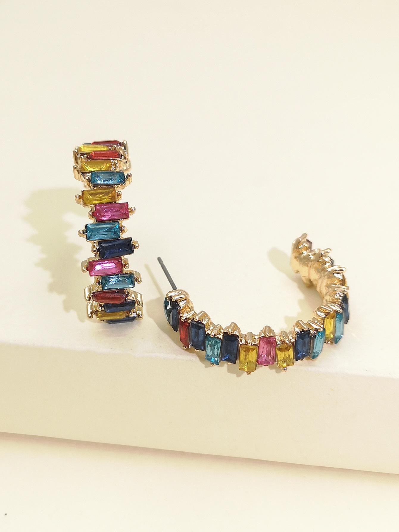 fashion exaggerated acrylic diamond geometric C-shaped full diamond earrings women retro generous temperament earring wholesale nihaojewelry NHJJ220052