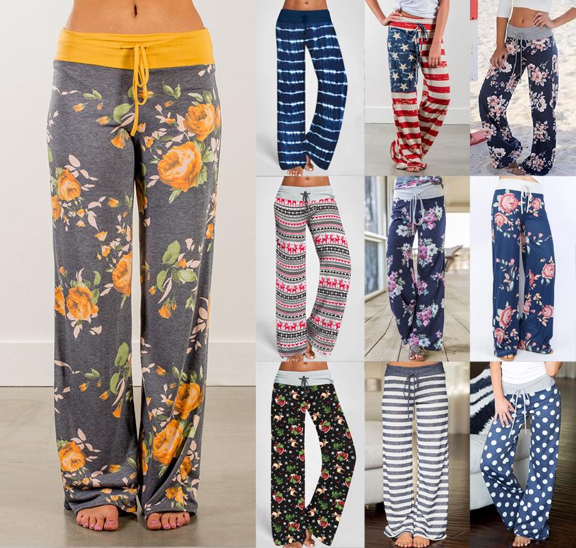 ebay  亚马逊WISH绑带休闲长裤 欧美时尚宽松系带迷彩印花裤子女
