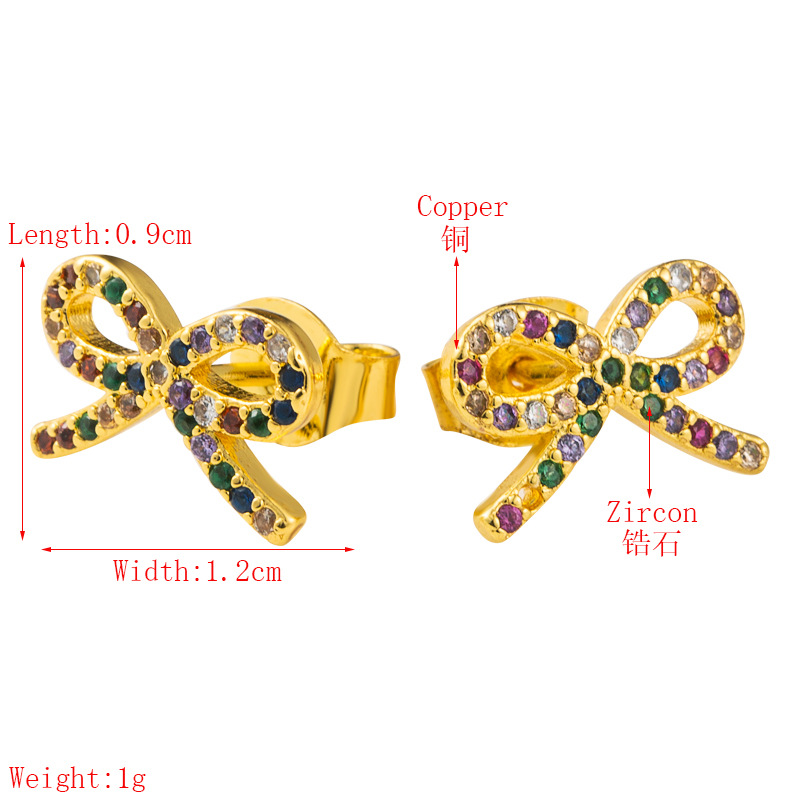 Bowknot earrings ladies Korean sweet and cute wild earrings brass micro-set color zircon plated real gold earrings wholesale  NHLN216486