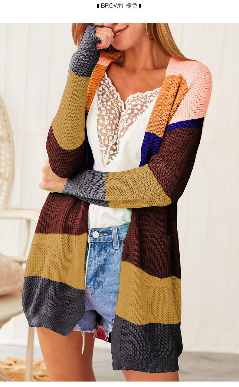 loose contrast stitching women's knitted cardigan  NSSI2479