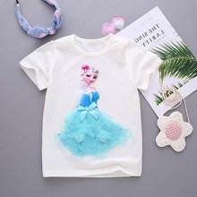 公主t恤上衣打底衫棉寶寶夏款女童艾莎蘇菲亞短袖洋氣冰雪奇緣