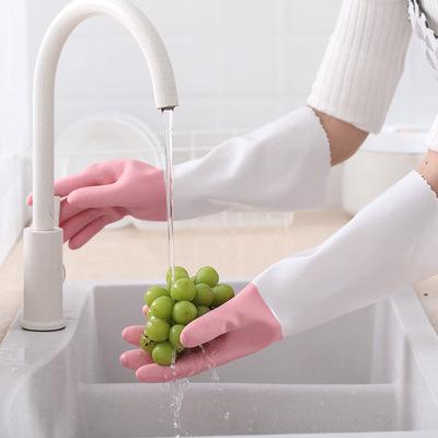货源加厚PVC植绒一体洗碗手套防水保暖厨房洗衣刷碗家务清洁防滑地摊批发