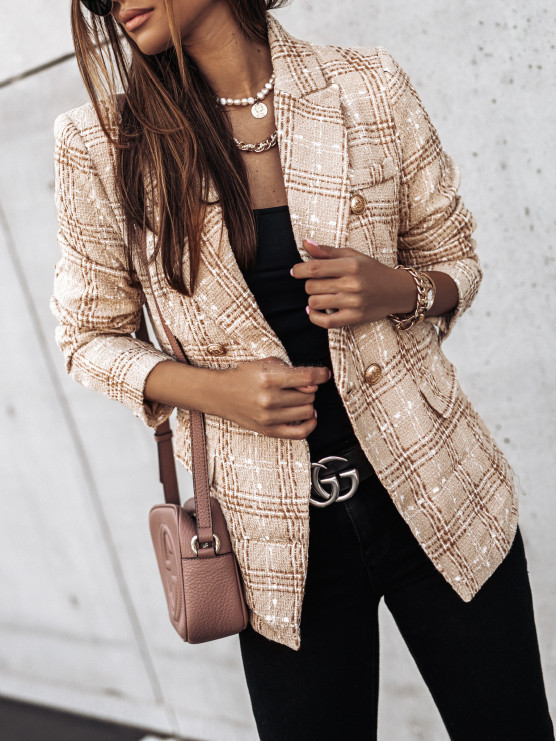hot autumn and winter long-sleeved double-breasted suit collar printed small jacket  NSYD3809