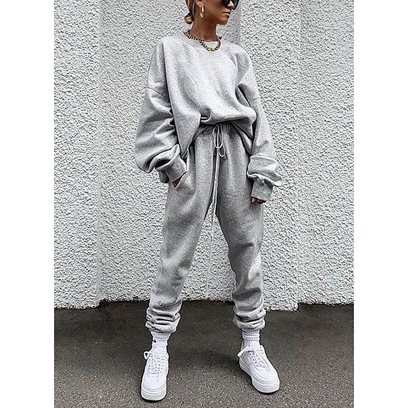 autumn women's new hot style solid color long-sleeved trousers loose casual suit NSKX5825