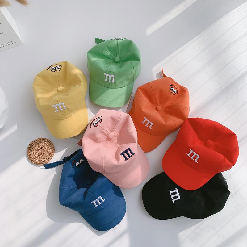 宝宝帽子儿童韩版春夏季薄款鸭舌帽m字母棒球帽韩国男童女童遮阳