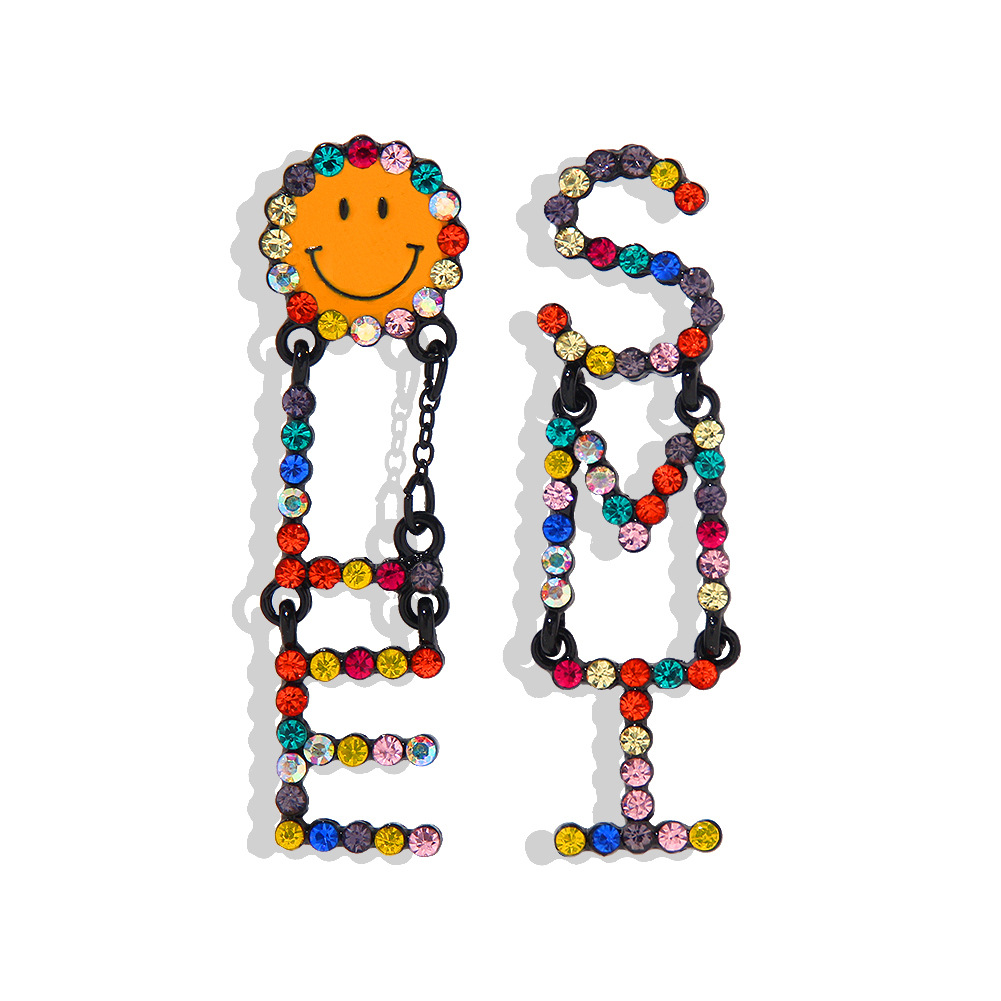 Korean new fashion creative letters exquisite diamond smiley earrings women NHJQ198744