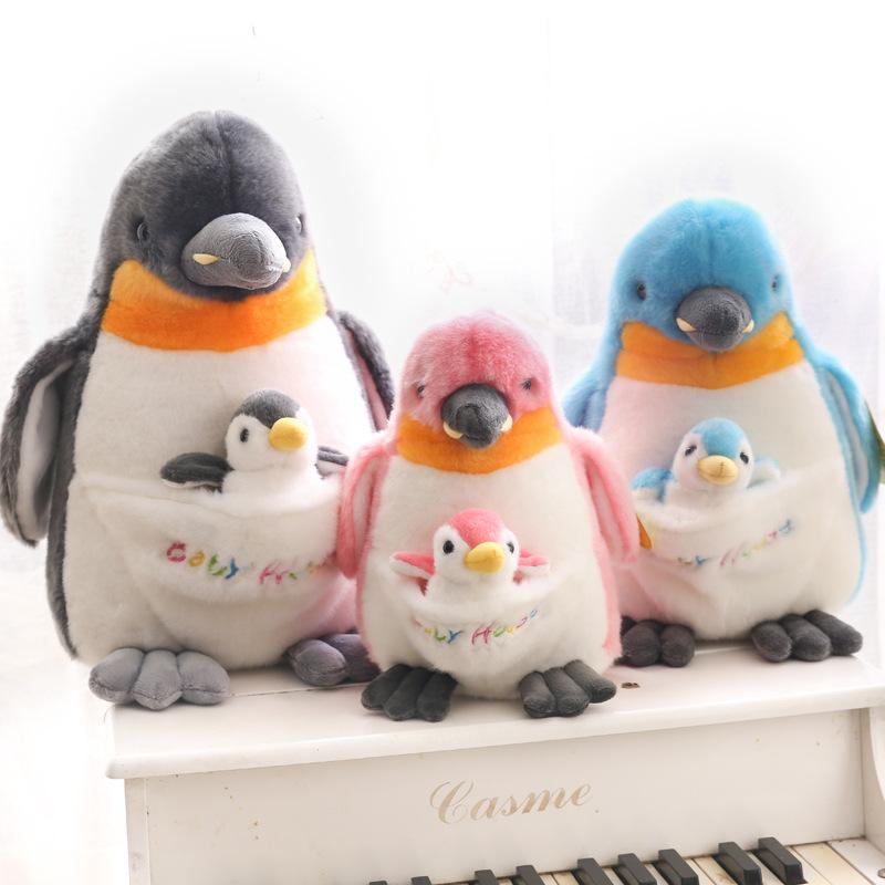 amangs可爱仿真超萌母子企鹅公仔毛绒玩具玩偶小号布娃娃宝宝女孩