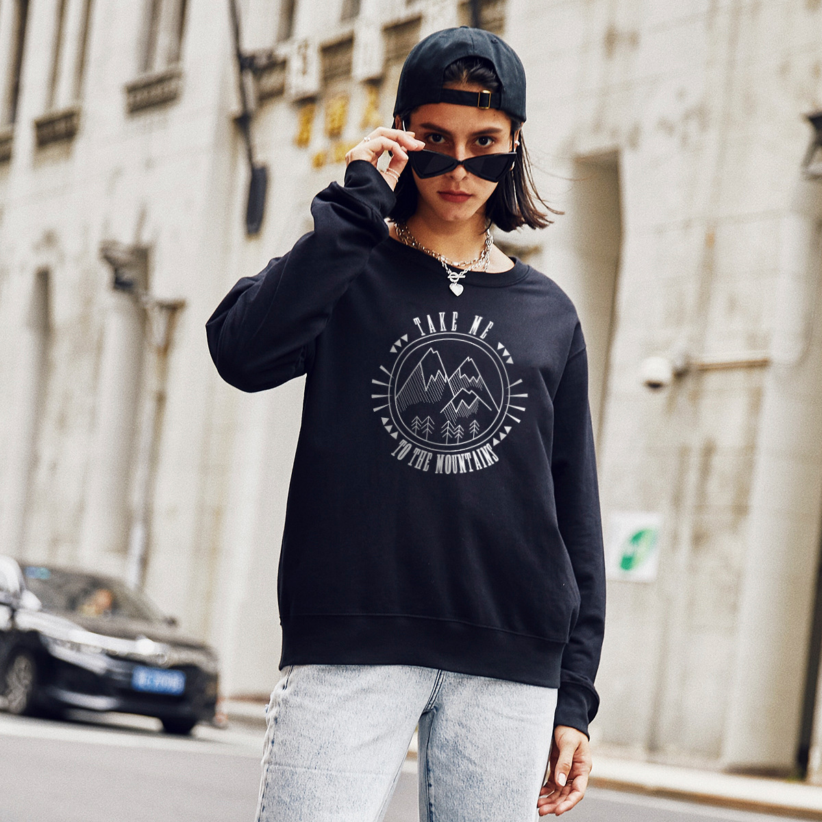 new autumn and winter women's round neck long sleeve street casual sweater NSSN4043