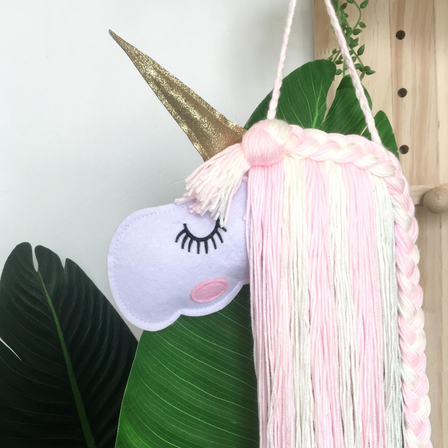 Unicorn Knitting Tassels Girl Hairpin Organizer Wall Decor Hairband Storage Belt