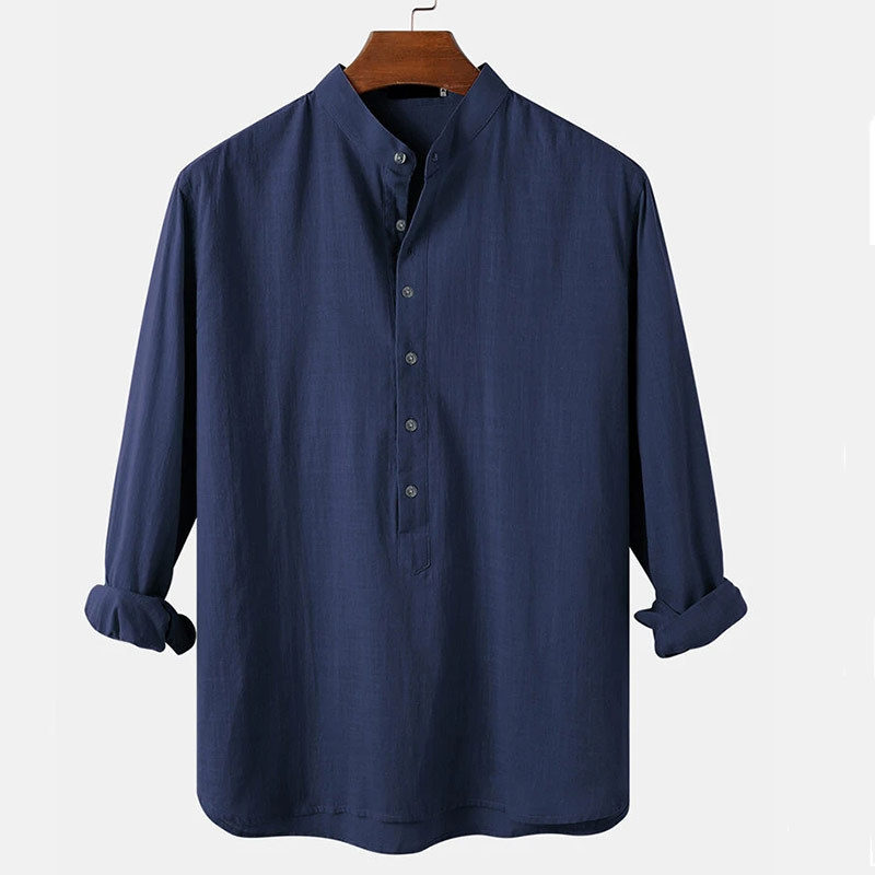2020 new men's casual cotton and linen p...