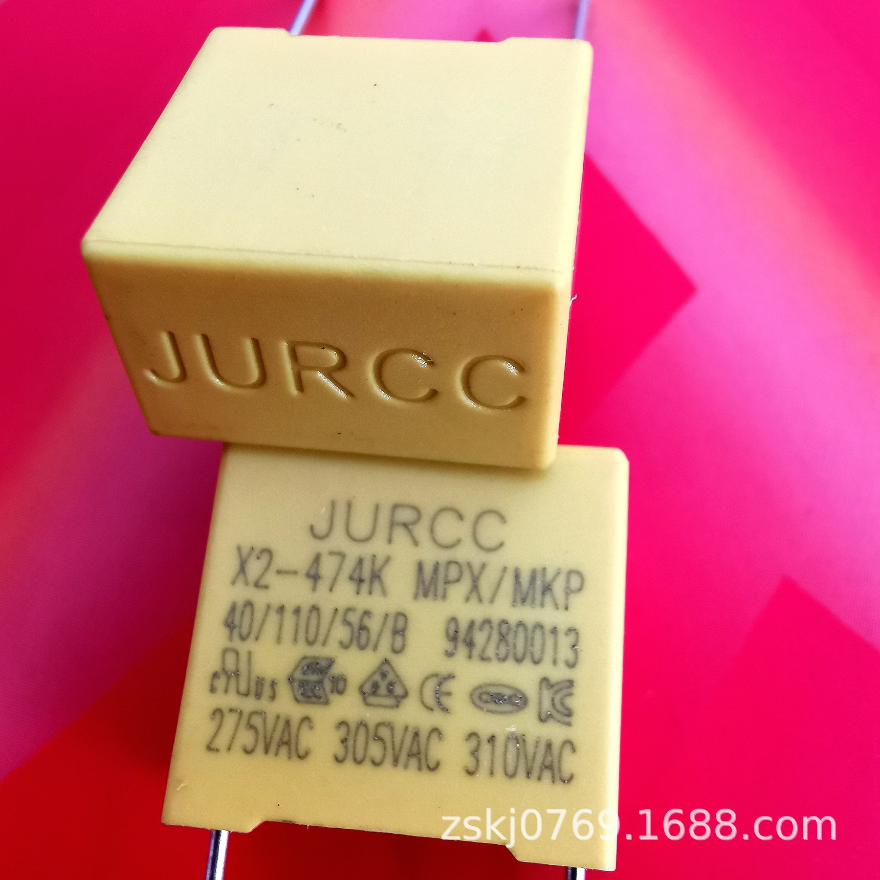安规X2电容器JURCC 474K 310VAC/  470NF 275VAC, 0.47UF P15