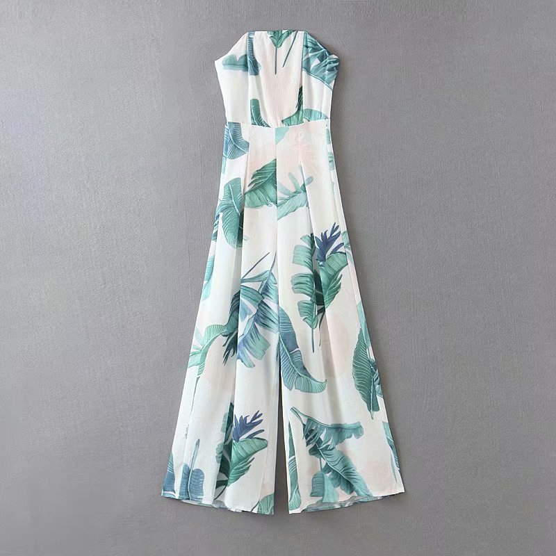Wholesale new fashion spring sexy coconut print tube top jumpsuit NHAM201488