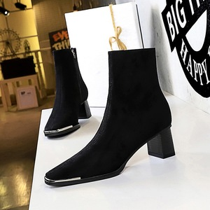 C829-1 in Europe and the wind in winter fashion metal steel-toed thick with high with suede sexy nightclub show thin squ