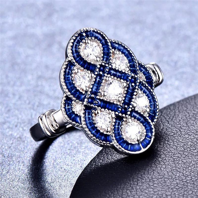 跨境热销精美蓝宝石指环欧美夸张女士订婚结婚戒指创意中国结手饰
