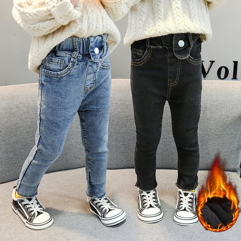 女童加绒牛仔裤秋冬季装新款小童韩版黑色加厚翻边紧修身小脚裤子